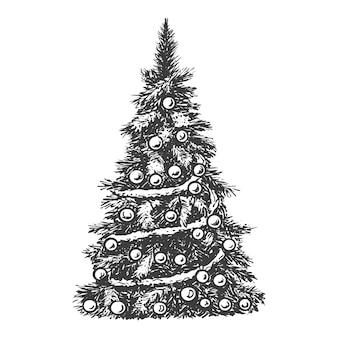 Ilustración de esbozo de árbol de navidad.