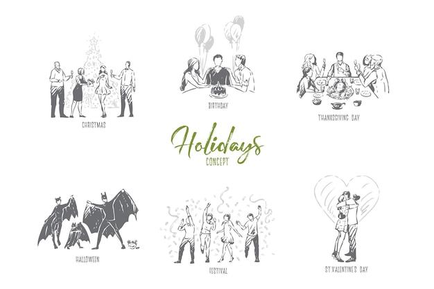 Ilustración de esbozo de concepto de día de san valentín de vacaciones