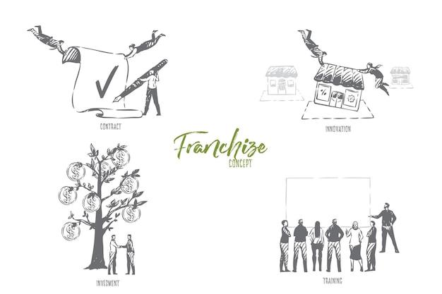 Ilustración de esbozo de concepto de formación de franquicia