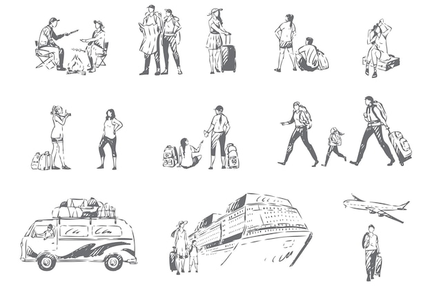 Ilustración de esbozo de concepto de temporada de vacaciones de turismo de verano