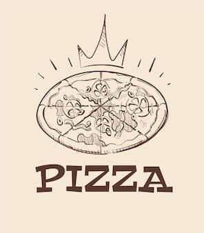 Ilustración de esbozo de pizza real