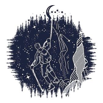 Ilustración de escalador de montaña