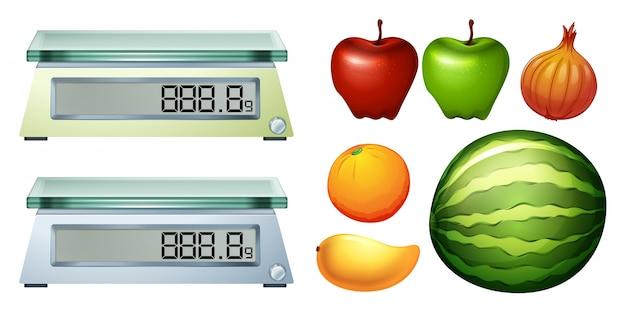 Ilustración de escalas de medición y frutas frescas