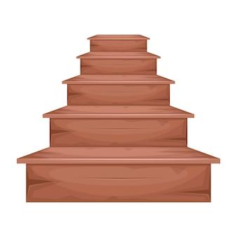 Ilustración de escaleras de madera sobre fondo blanco