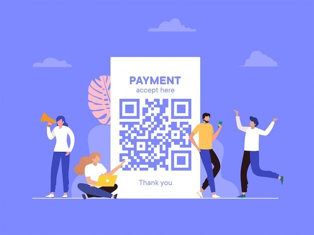 Ilustración de escaneo de código qr, la gente usa el teléfono inteligente y escanea el código qr para el pago