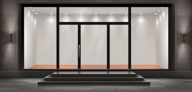 Ilustración de escaparate con escalones y puerta de entrada, vitrina iluminada.