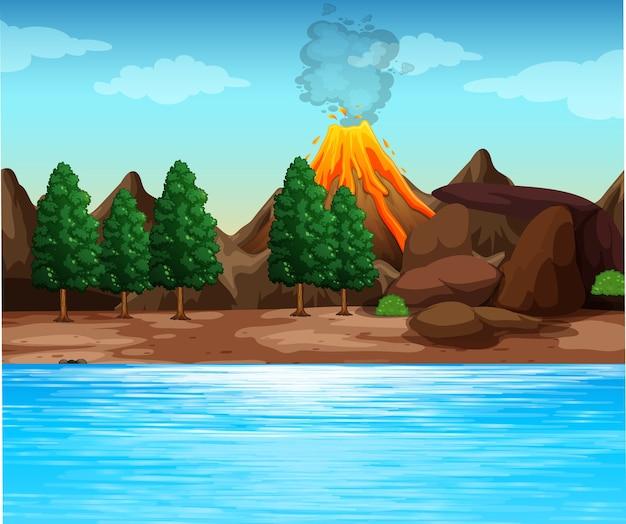 Ilustración de escena al aire libre de erupción volcánica