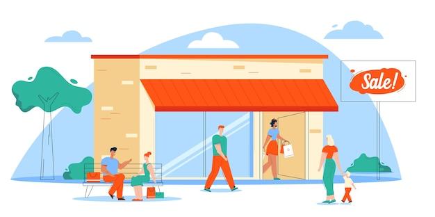 Ilustración de la escena de compras y compradores. chica tiene muchas compras, mujer y niño caminando. edificio de la tienda, pareja sentada en un banco y hablando. promoción de tiendas, minoristas, clientes felices
