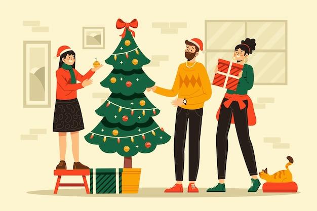Ilustración de escena de decoración de árbol de navidad de diseño plano