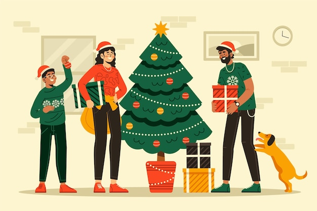 Ilustración de escena de decoración de árbol de navidad
