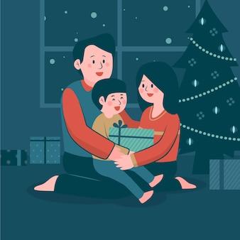Ilustración de escena familiar de navidad de diseño plano