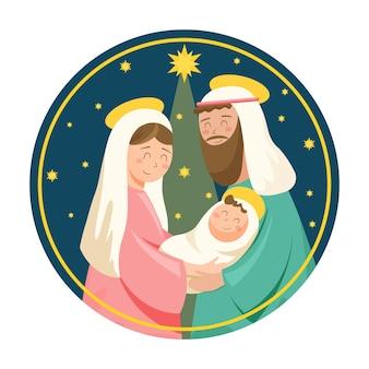 Ilustración de escena de natividad plana