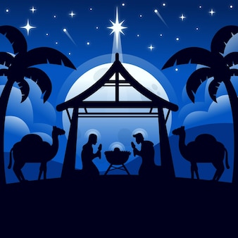 Ilustración de escena de natividad de silueta