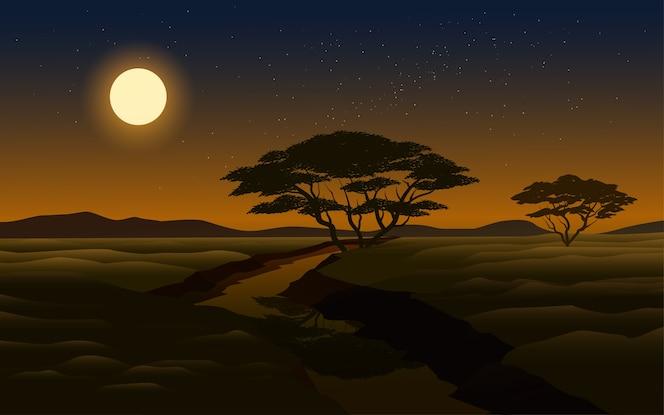 Ilustración de escena nocturna con luna llena y río.