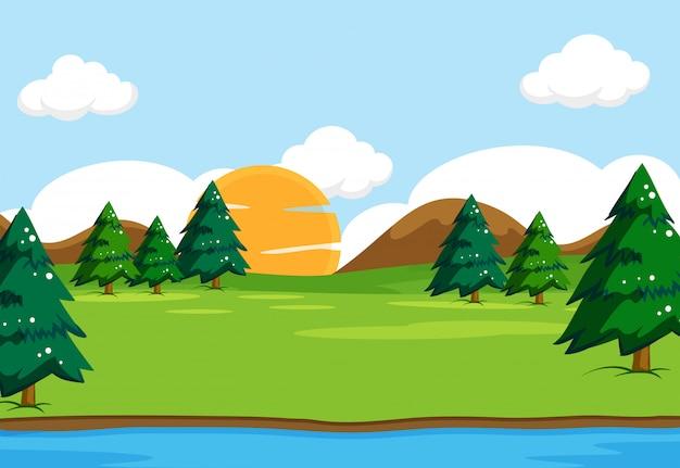 Ilustración de escena de paisaje de naturaleza al aire libre
