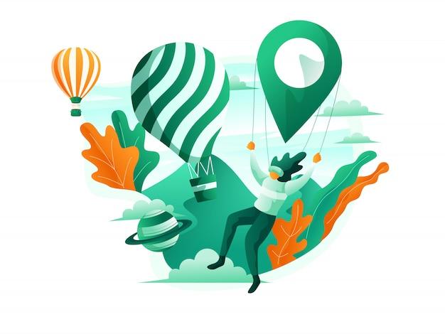 Ilustración de la escena turística de una mujer montando un globo de aire