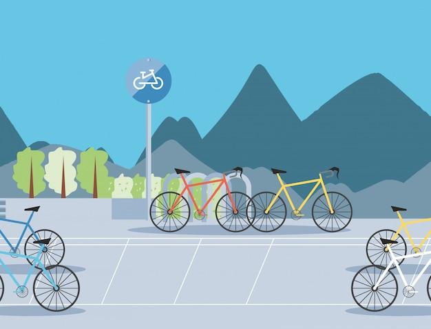 Ilustración de escena urbana de zona de estacionamiento de bicicletas