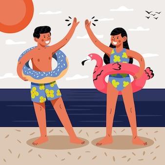 Ilustración de escena de verano de dibujos animados