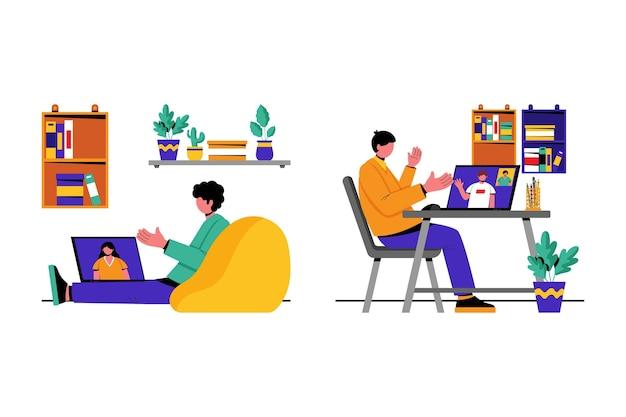 Ilustración de la escena de videoconferencia de amigos.