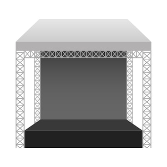Ilustración de escenario de concierto sobre fondo blanco