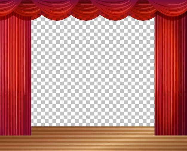Ilustración de escenario vacío con cortinas rojas transparentes
