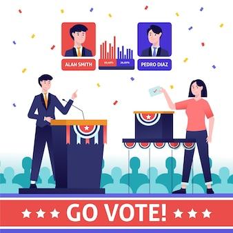 Ilustración de escenas de campaña electoral de estados unidos de diseño plano