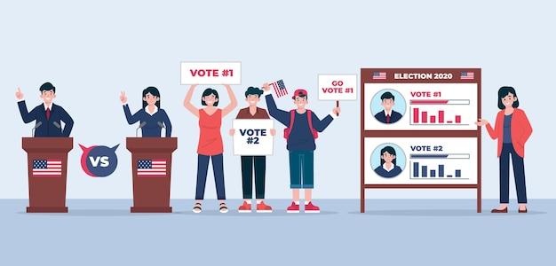 Ilustración de escenas de campaña electoral de estados unidos