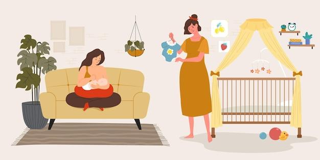 Ilustración de escenas de embarazo y maternidad.