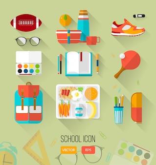 Ilustración escolar de elementos del espacio de trabajo.