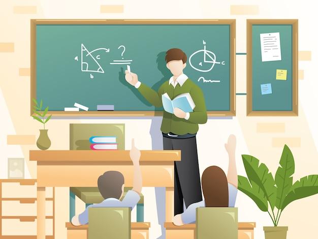 Ilustración de escolarización de estudiantes