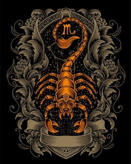 Ilustración escorpión con adorno grabado