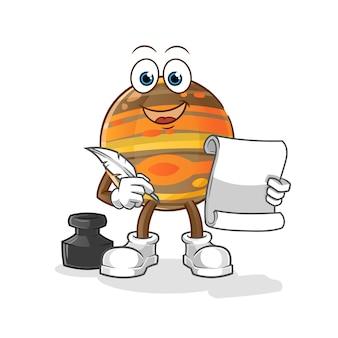 Ilustración del escritor de júpiter