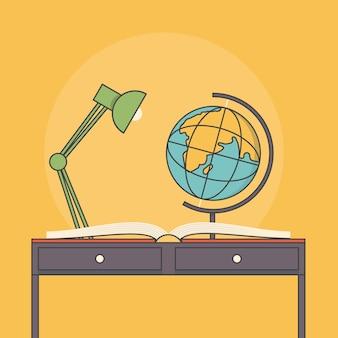 Ilustración del escritorio de educación