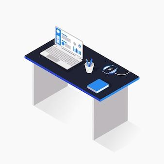 Ilustración de escritorio de oficina 3d isométrica con computadora portátil y libro