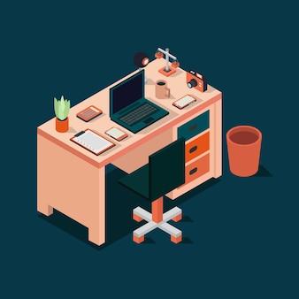 Ilustración de escritorio de oficina isométrica
