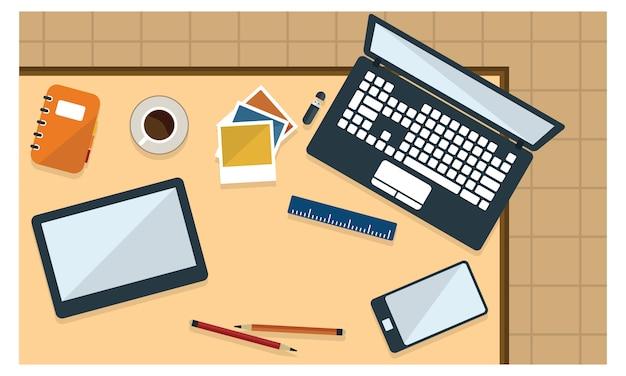 Ilustración de escritorio de oficina y papelería en vista superior de estilo plano