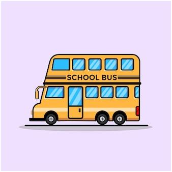 Ilustración de la escuela de autobuses. estilo de dibujos animados plana