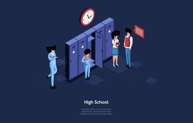 Ilustración de la escuela secundaria en estilo de dibujos animados 3d.