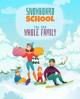 Ilustración de la escuela de snowboard