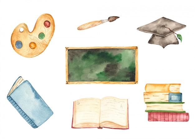 Ilustración de la escuela y suministros