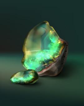 Ilustración de esmeralda en bruto con fragmento
