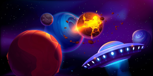 Ilustración espacial con planetas y asteroides.