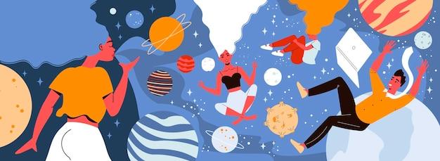Ilustración espacial con vista conceptual de personas flotando en el espacio de sus mentes con ilustración de imágenes de planetas