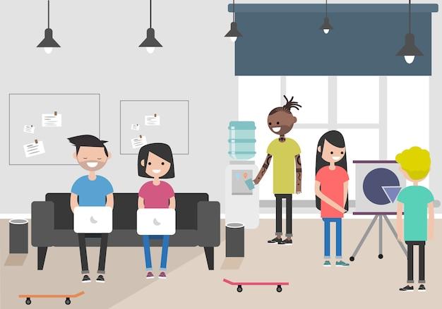Ilustración del espacio de coworking. lugar de trabajo, oficina. oficina moderna millennials en el trabajo.