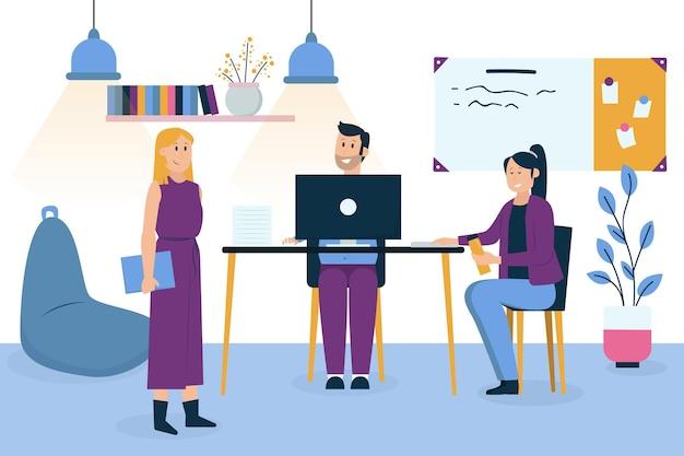 Ilustración de espacio de coworking con personas que trabajan
