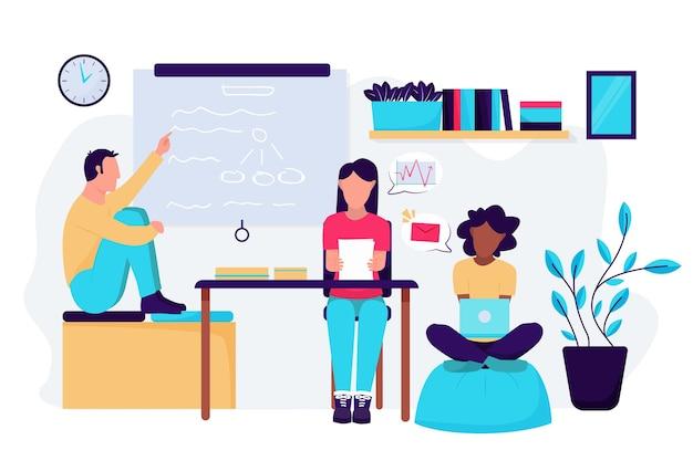 Ilustración de espacio de coworking con personas en el trabajo