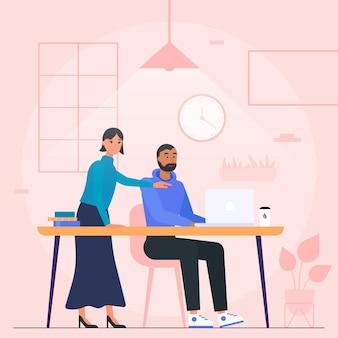 Ilustración de espacio de coworking con personas