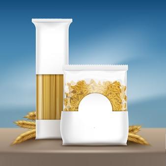 Ilustración del espacio de embalaje para pasta de plantilla de texto con espaguetis y farfalle en mesa marrón con espigas de trigo sobre fondo de cielo azul
