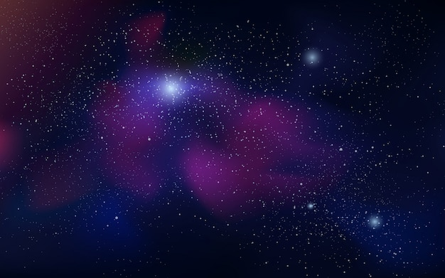 Ilustración del espacio con estrellas brillantes y nebulosa