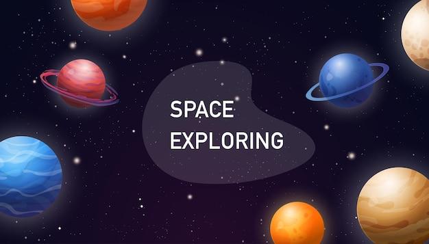 Ilustración de espacio horizontal con planetas.
